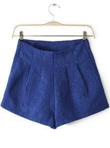 Blue Mid Waist Embroidered Shorts