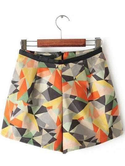 Orange Contrast Leather Geometric Print Skirt Shorts