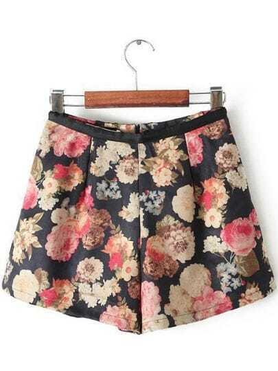 Black Contrast Leather Floral Skirt Shorts