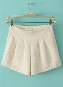 Beige Mid Waist Embroidered Shorts