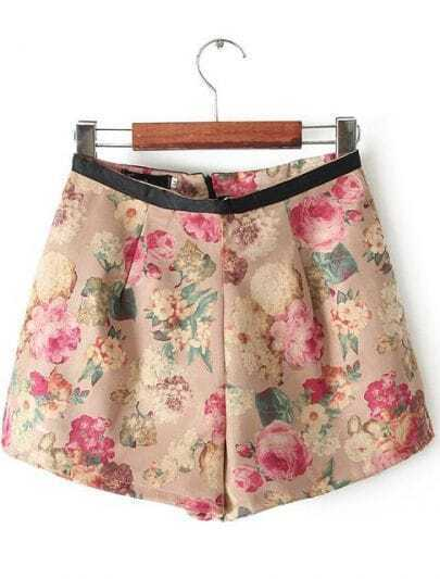Khaki Contrast Leather Floral Skirt Shorts