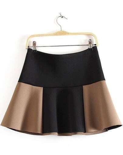 Black Contrast Khaki Ruffle Flare Skirt
