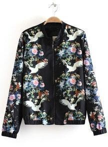 Black Stand Collar Floral Crane Print Jacket