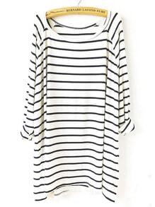 White Black Striped Loose T-Shirt