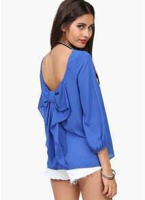 Blue Long Sleeve Bowknot Backless Blouse