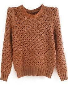 Khaki Stand Collar Pineapple Pattern Sweater