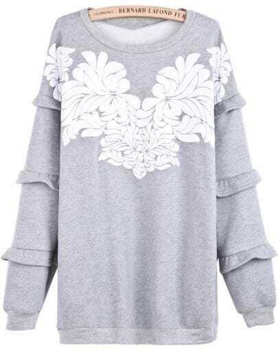 Grey Cascading Ruffle Long Sleeve Floral Sweatshirt