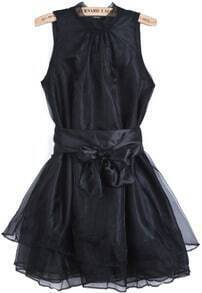 Black Sleeveless Contrast Organza Belt Flare Dress