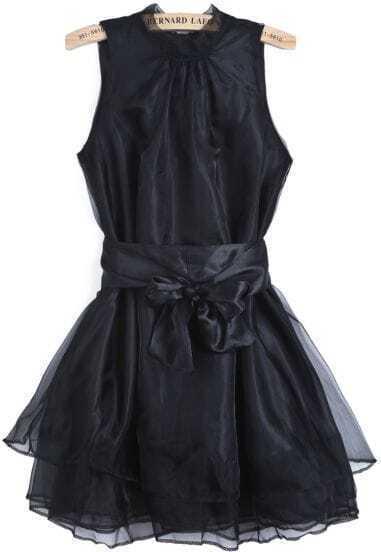 Black Sleeveless Contrast Organza Belt Flare Dress