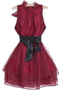 Red Sleeveless Contrast Organza Belt Flare Dress