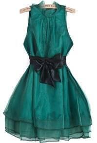 Green Sleeveless Contrast Organza Belt Flare Dress