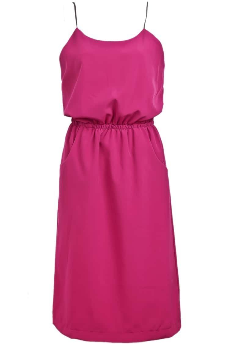 Red spaghetti strap pockets chiffon dress shein sheinside for Spaghetti strap wedding dress with pockets