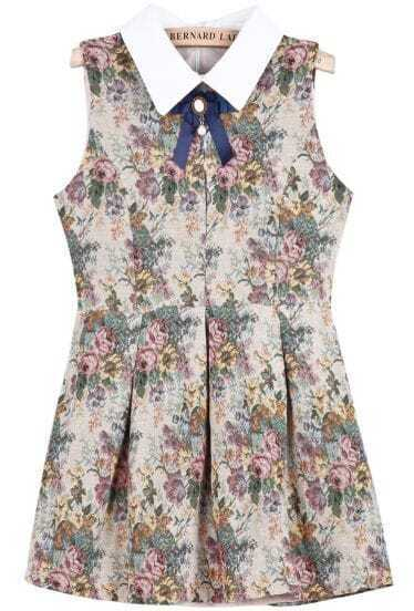 Khaki Contrast Lapel Sleeveless Floral Dress