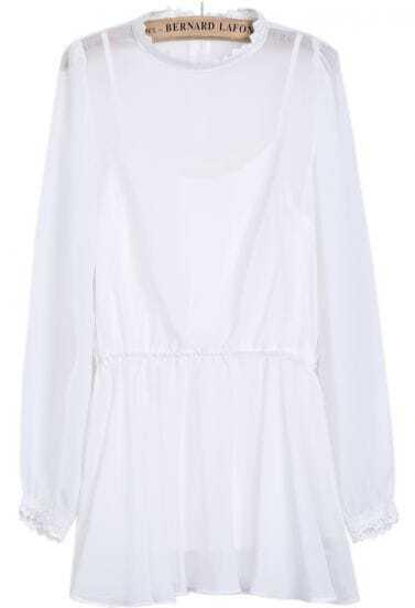 White Long Sleeve Lace Chiffon Pleated Dress