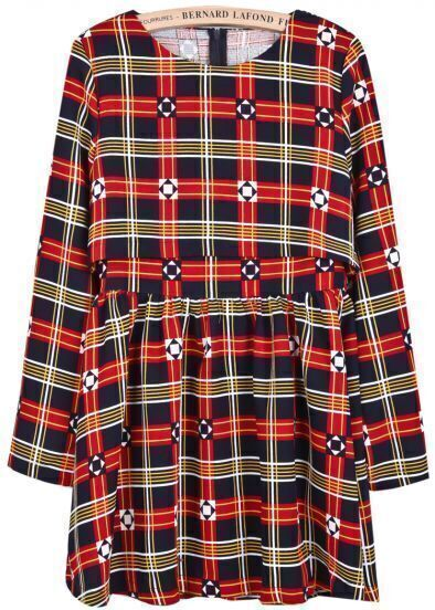 Red Long Sleeve Plaid Geometric Print Dress
