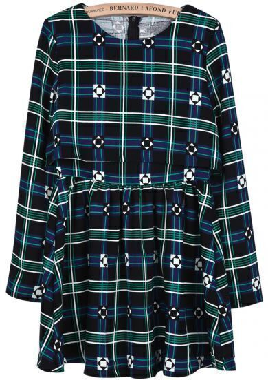 Blue Long Sleeve Plaid Geometric Print Dress