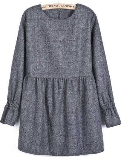 Grey Long Sleeve Plaid Loose Dress