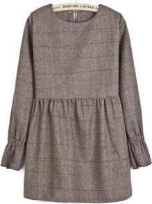 Khaki Long Sleeve Plaid Loose Dress