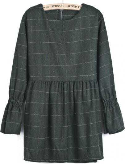 Green Long Sleeve Plaid Loose Dress