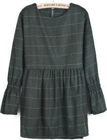Green Long Sleeve Plaid Loose Dress
