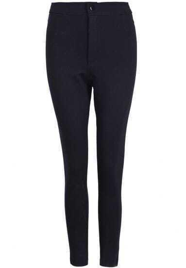 Black High Waist Slim Elastic Pant