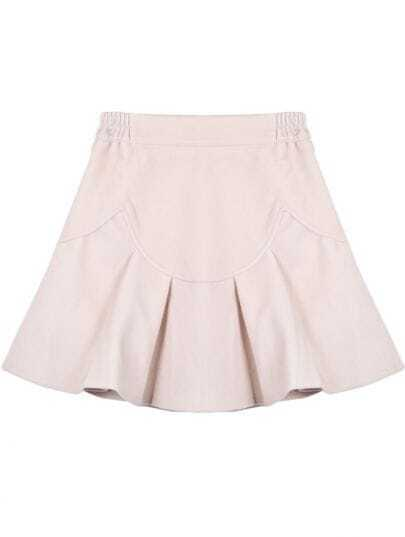 Apricot Simple Design Ruffle Skirt