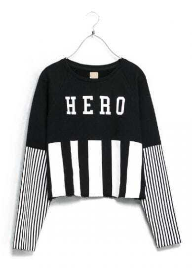 Black Vertical Stripe HERO Print Crop Sweatshirt