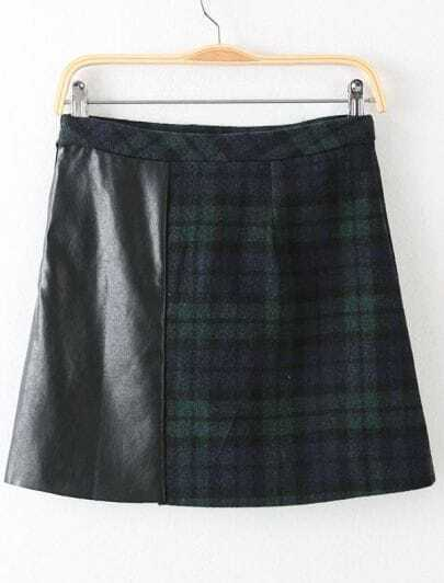 Black Contrast PU Leather Plaid Skirt