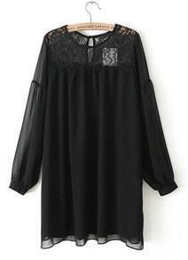 Black Long Sleeve Contrast Lace Chiffon Dress