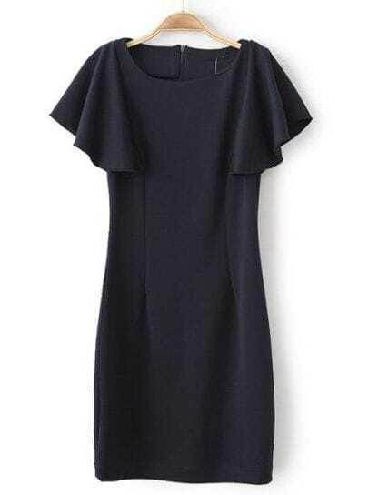 Black Ruffle Short Sleeve Slim Bodycon Dress
