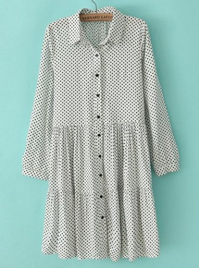 White Lapel Long Sleeve Polka Dot Pleated Dress