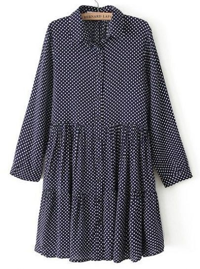 Navy Lapel Long Sleeve Polka Dot Pleated Dress