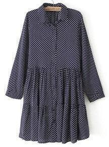 Navy Lapel Long Sleeve Polka Dot Pleated Dress