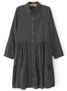 Black Lapel Long Sleeve Polka Dot Pleated Dress