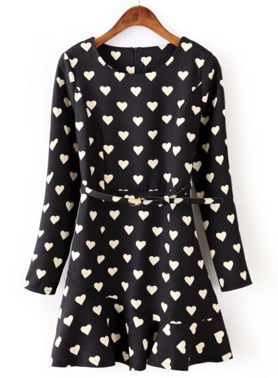 Black Long Sleeve Hearts Print Ruffle Dress