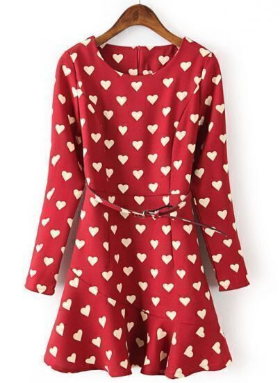 Red Long Sleeve Hearts Print Ruffle Dress
