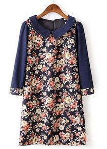 Navy Lapel Long Sleeve Floral Straight Dress