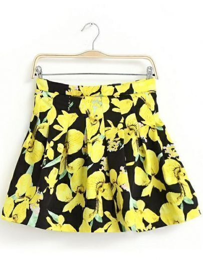 Yellow Black Floral Pleated Skirt