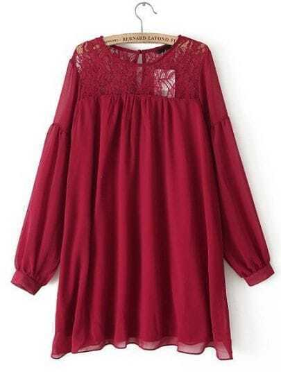Wine Red Long Sleeve Contrast Lace Chiffon Dress