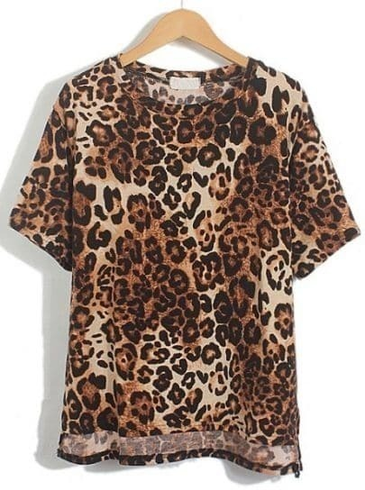Yellow Short Sleeve Leopard Loose T-Shirt
