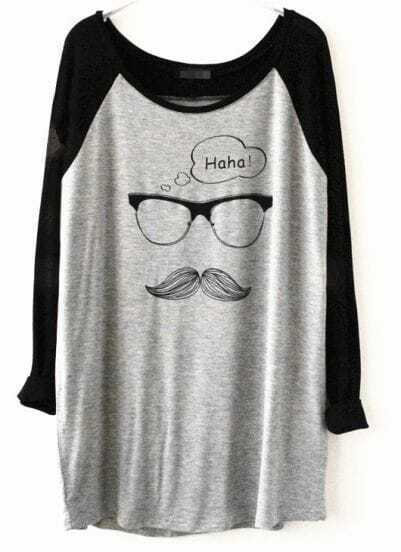 Grey Contrast Black Sleeve Glasses Pattern T-Shirt