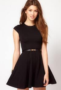 Black Cap Sleeve Belt Pleated Dress