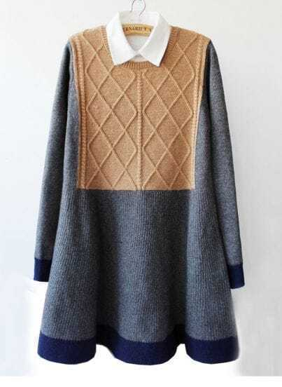 Grey Long Sleeve Geometric Knit Ruffle Sweater Dress