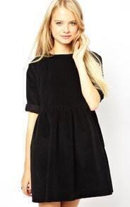 Black Three Quarter Length Sleeve Pleated Dress