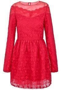 Red Long Sleeve Embroidered Lace Dress