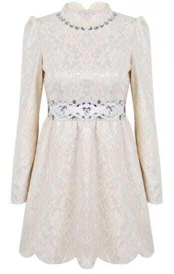 Apricot Long Sleeve Rhinestone Lace Embroidered Dress