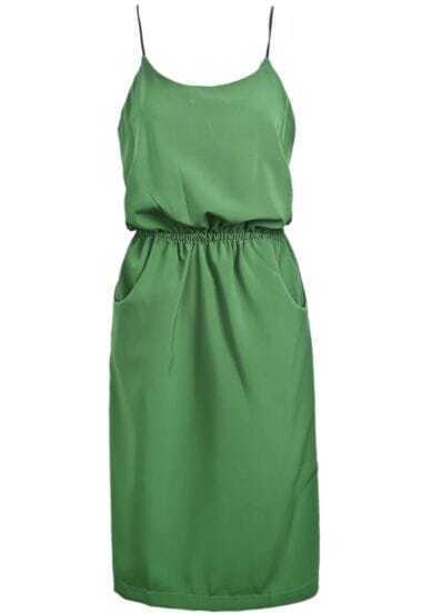 Green Spaghetti Strap Pockets Chiffon Dress