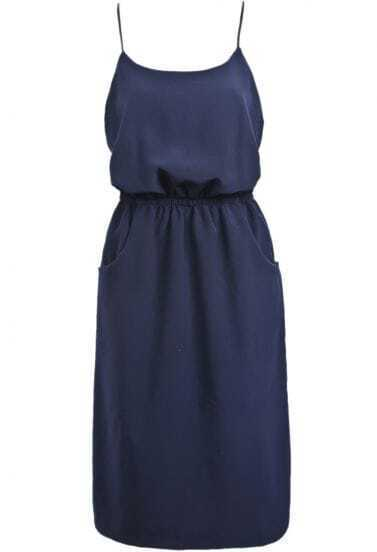 Navy Spaghetti Strap Pockets Chiffon Dress