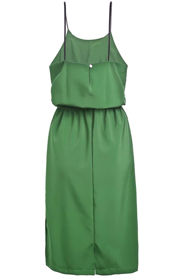 Green spaghetti strap pockets chiffon dress shein sheinside for Spaghetti strap wedding dress with pockets