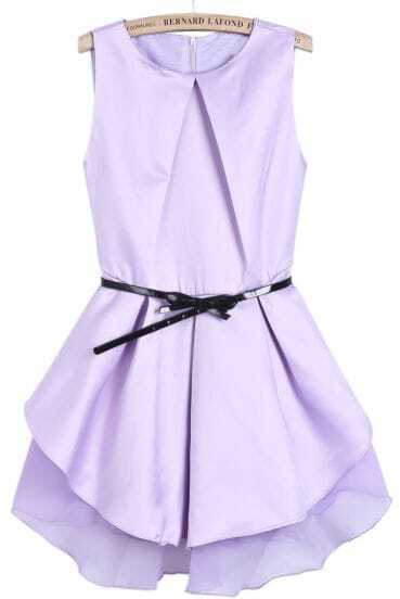 Purple Sleeveless Contrast Mesh Yoke Ruffle Dress